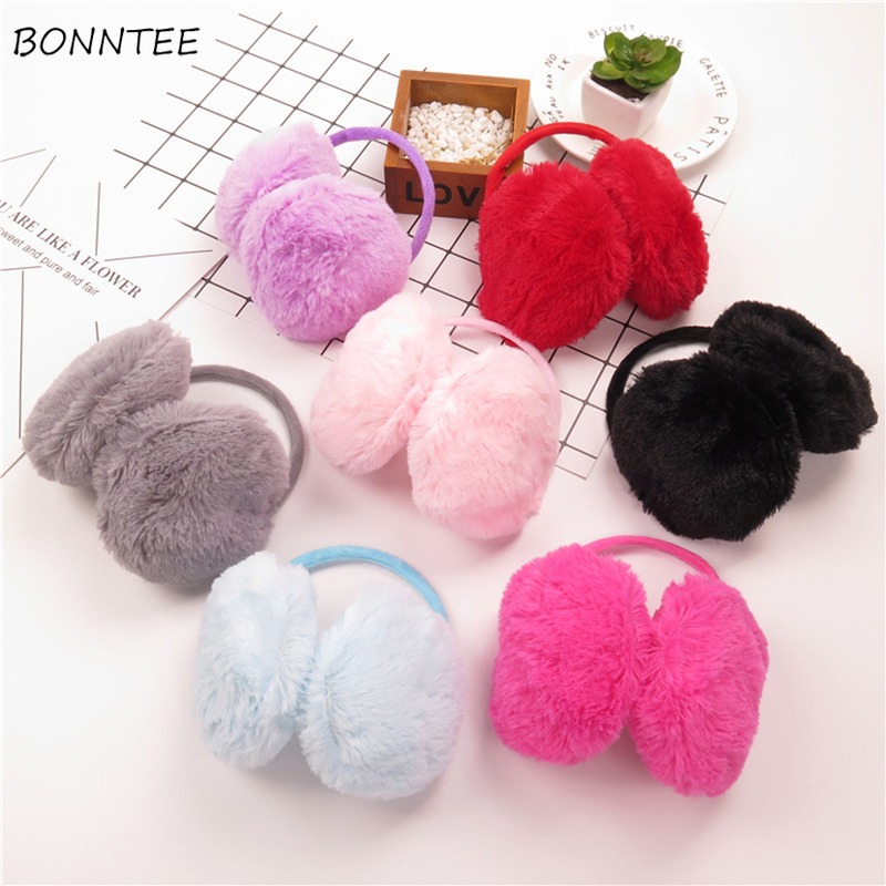 Earmuffs Women Candy Color Kawaii Simple Solid Winter Warm Soft Womens Ear Antifreeze Korean Style All-match Trendy Earmuff Chic
