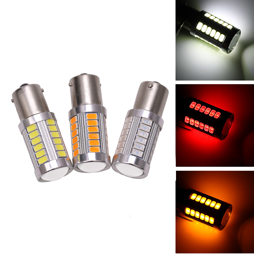 2pcs 1156PY BAU15S <font><b>PY21W</b></font> 150 Degree 33 SMD 5630 1056 <font><b>Orange</b></font> Red CAR <font><b>LED</b></font> Parking Lamp Brake Turn Signal Light DC 12V 33-SMD 5730 image