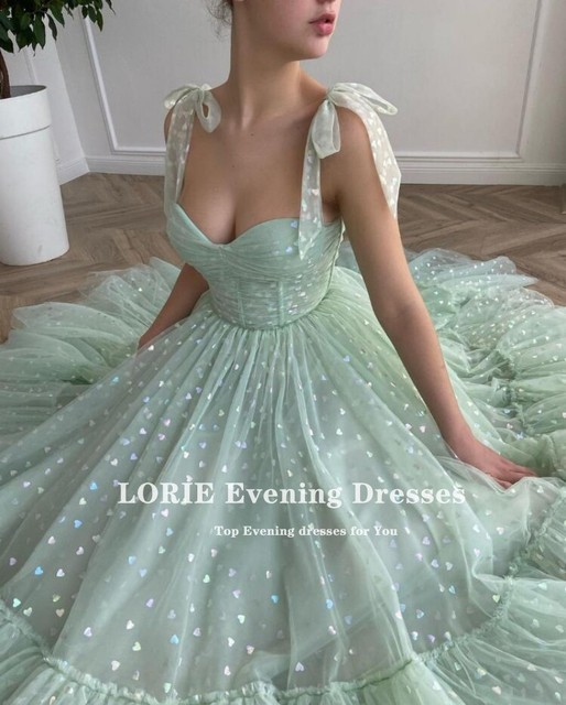 LORIE Shiny Fairy Prom Dresses Sweetheart Mint Green Tulle Tea Length Wedding Party Gown Short Graduation Robes de cocktail 5