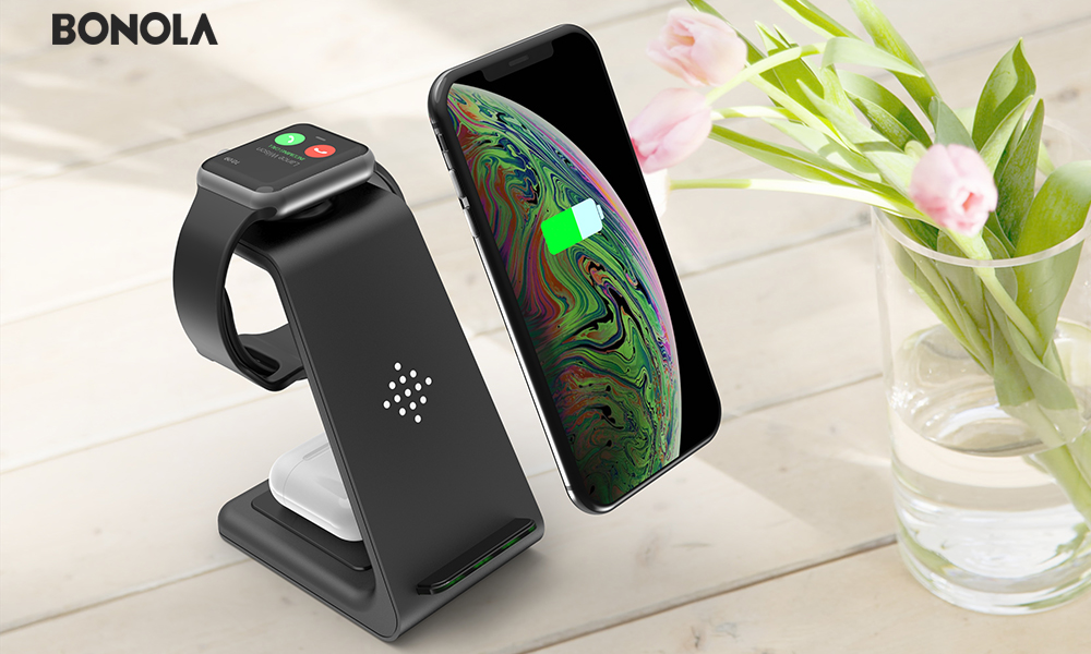 Bonola Qi 3 in1 Wireless Charging Station For iPhone11ProXrXsAirPods ProiWatch5 4 Wireless Charger For SamsungS10BudsWatch (12)