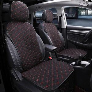 Image 2 - フロント車のシートカバーと背もたれユニバーサル通気性リネンシートクッション保護マットパッド自動シートフィットインテリアアクセサリー