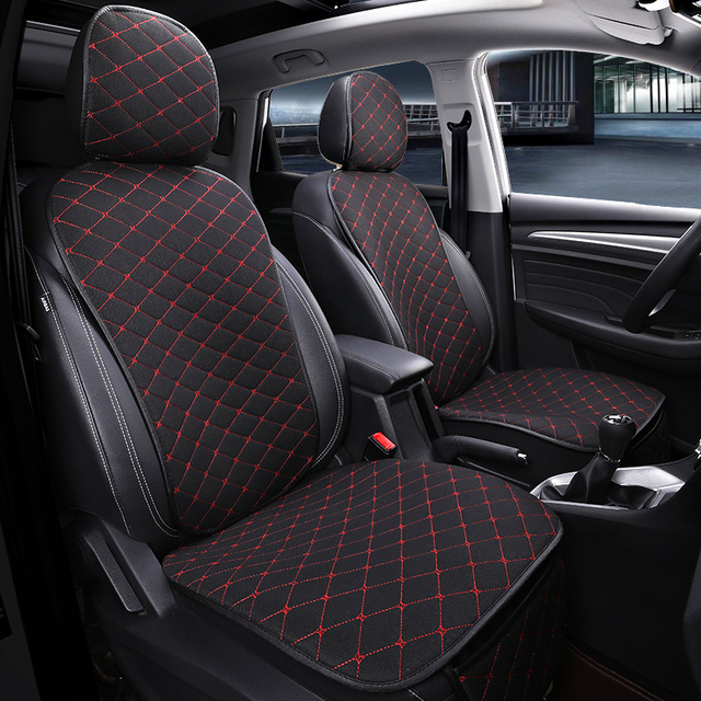 Front Car Seat Cover With Backrest Universal Breathable Linen Seat Cushion Protection Mat Pad Auto Seat Fit Interior Accessories
