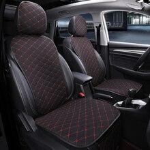 Voorste Auto Bekleding Met Rugleuning Universele Ademend Linnen Zitkussen Bescherming Mat Pad Auto Seat Fit Interieur Accessoires
