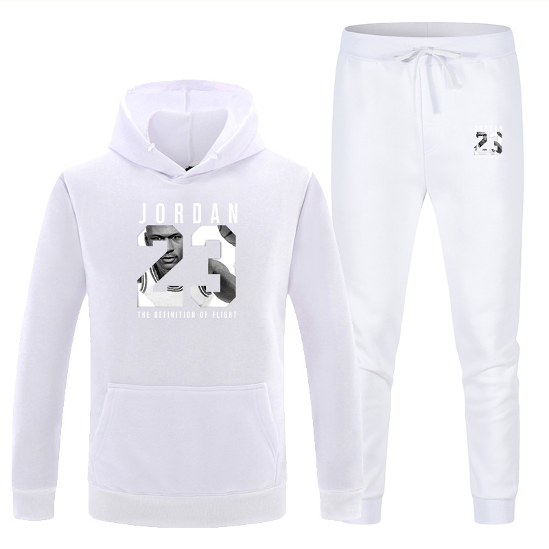New Men's Hooded Sweater Set White Red Pink Sportswear Pullover Sweater Hoodie + Sweatpants Jogging Men's Pullover 3XL Sports Su 3