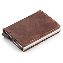 2020 Credit Card Holder Wallet Men Women Metal RFID Vintage Aluminium Bag Crazy Horse PU Leather Bank Cardholder Case