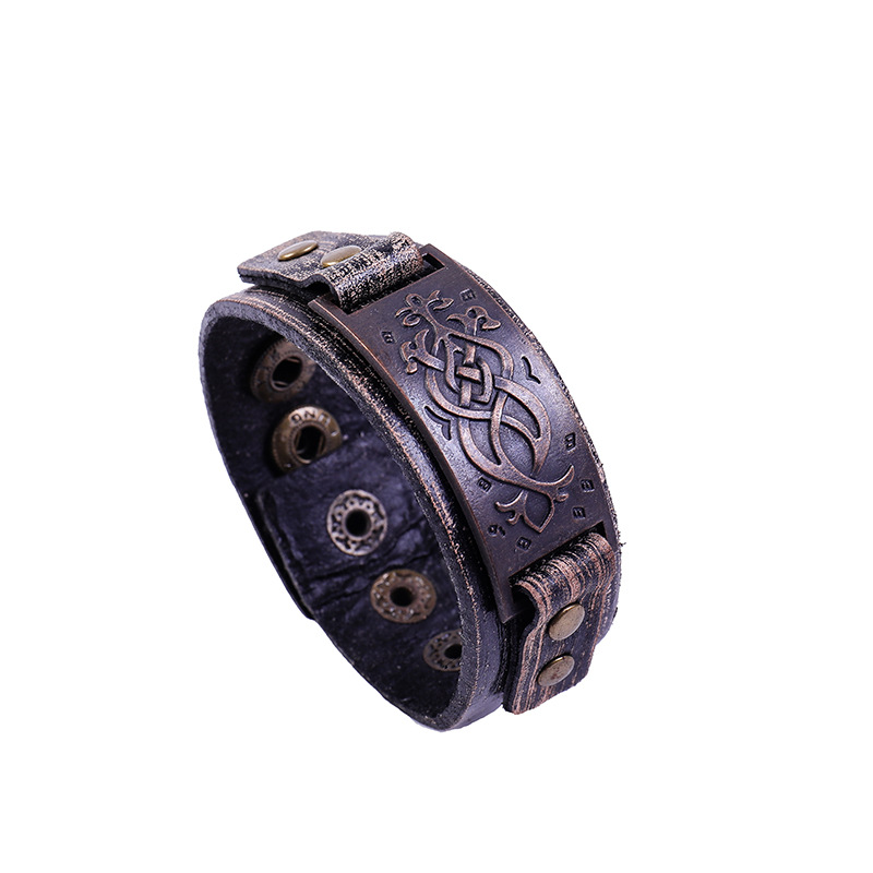 2020 Vintage Men Bracelet Viking Fashion Accessories European American Personality Leather Bracelet Bangles Mens Jewellery