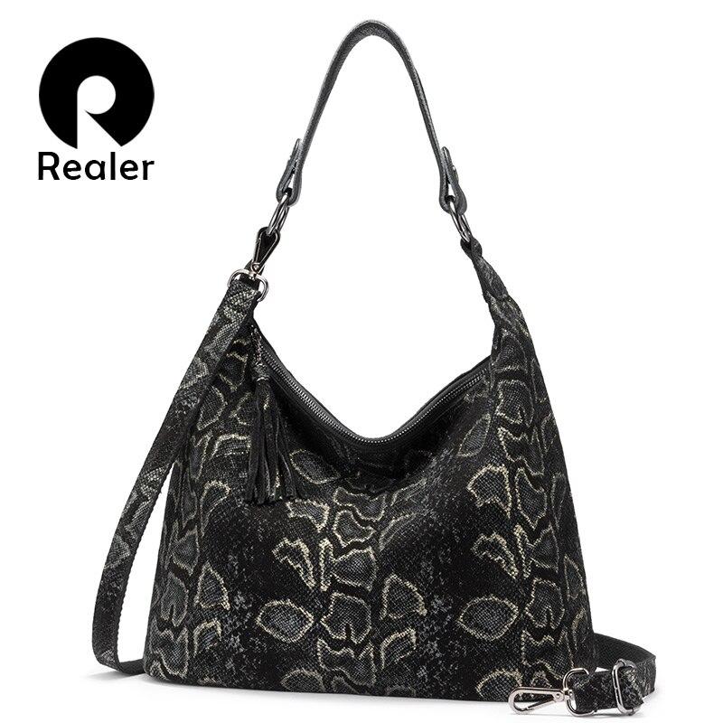 REALER Genuine Leather Shoulder Bags For Women 2019 Luxury Handbag Designer Large Hobos With Tassel Animal Prints Cross Body Bag