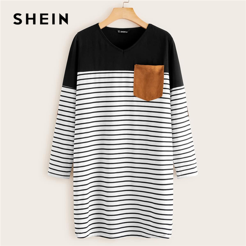 SHEIN Black And White Pocket Patched Striped Tee Dress Women Spring Long Sleeve Ladies Basic Straight Short Casual Dresses