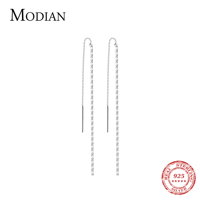 Modian Simple Fashion Long Tassel Chain Drop Earrings Charm 925 Sterling Silver Classic Dangle Ear For Women Wedding Jewelry