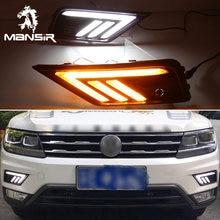 Luz LED de conducción diurna para coche, relé de señal amarilla de giro automático DRL, 12V, ABS, DRL, para Volkswagen Tiguan 2017 2018 2019