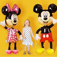 Mickey Minnie Balloons Large Giant 175cm Big Red Bowknot Standing Mouse Balloons Kids Birthday Party Decorations Classic Toys