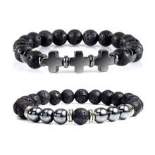Hematite Cross Beaded Bracelets Men Black Lava Tiger Eye Stone Onyx Beads Stretch Strand Bracelets & Bangles Women Yoga Jewelry
