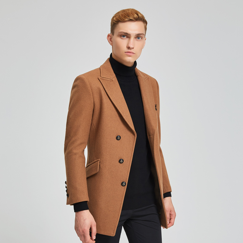 Warm Woolen Coat Men Winter Wool Blends Man Jacket Slim England Style Men's Jackets And Coats Outwear Erkek Mont KJ254
