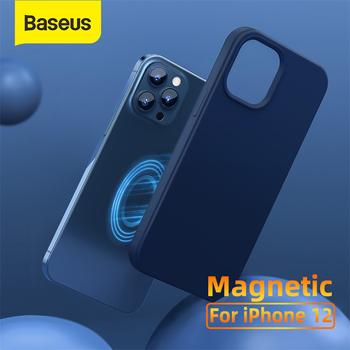 Baseus magnetyczny pokrowiec na iPhone 12 Pro Max żel krzemionkowy magnetyczny pokrowiec na iPhone 12 mini 12 Pro adsorpcja Coque Cover tanie i dobre opinie APPLE CN (pochodzenie) Częściowo przysłonięte etui Adsoption Zwykły Baseus Original Magnetic Leather Case Black Blue White
