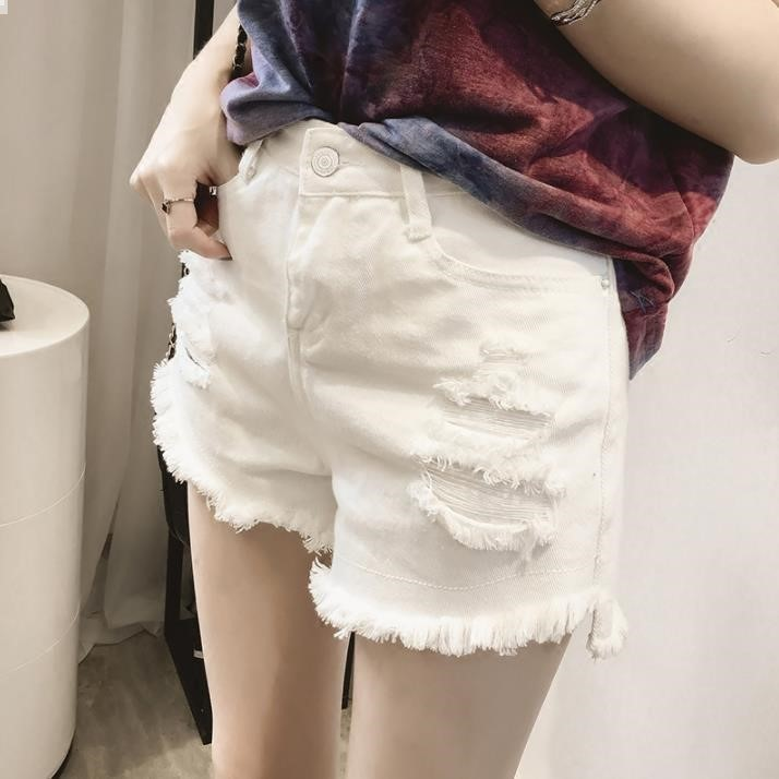 Summer Denim Shorts Women's Loose-Fit High-waisted 2019 New Style White Trunks Outer Wear With Holes Versatile Large Size Fat Mm