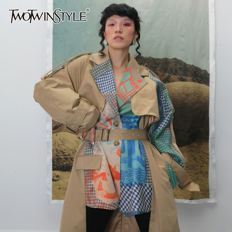 TWOTWINSTYLE Women Hit Color Two False Piece Print Trench Lapel Long Sleeve Loose Fit Windbreaker Fashion Autumn Winter 2020 New
