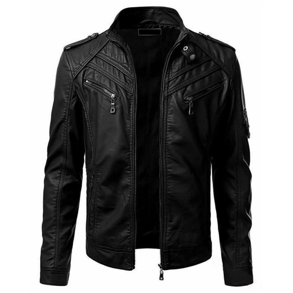 Men Winter Imitation Leather Jacket Biker Motorcycle Zipper Long Sleeve Coat Top S-4XL