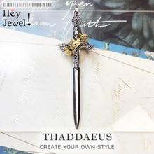 Colgante de espada con corona para mujer y hombre, joyería fina, bisutería de estilo europeo, regalo de protección de plata de ley 2021 para Primavera de 925
