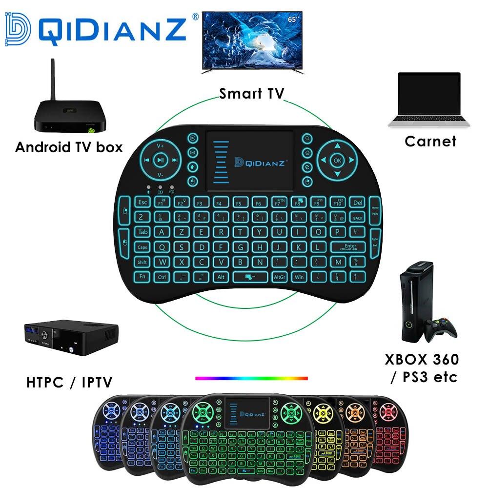 I8 En/Ru/Es/Fr Kablosuz MINI Klavye USB Hava Fare arkadan aydınlatmalı Akıllı Telefon Için Touchpad android tv kutusu Oyna oyun adet AAA Pil