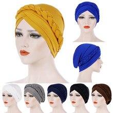 Turbante hijab muçulmano hijab tampões musulman para mulher muçulmano sólido trança feminino hijab envoltório boné turbantes cabeza para as mujeres
