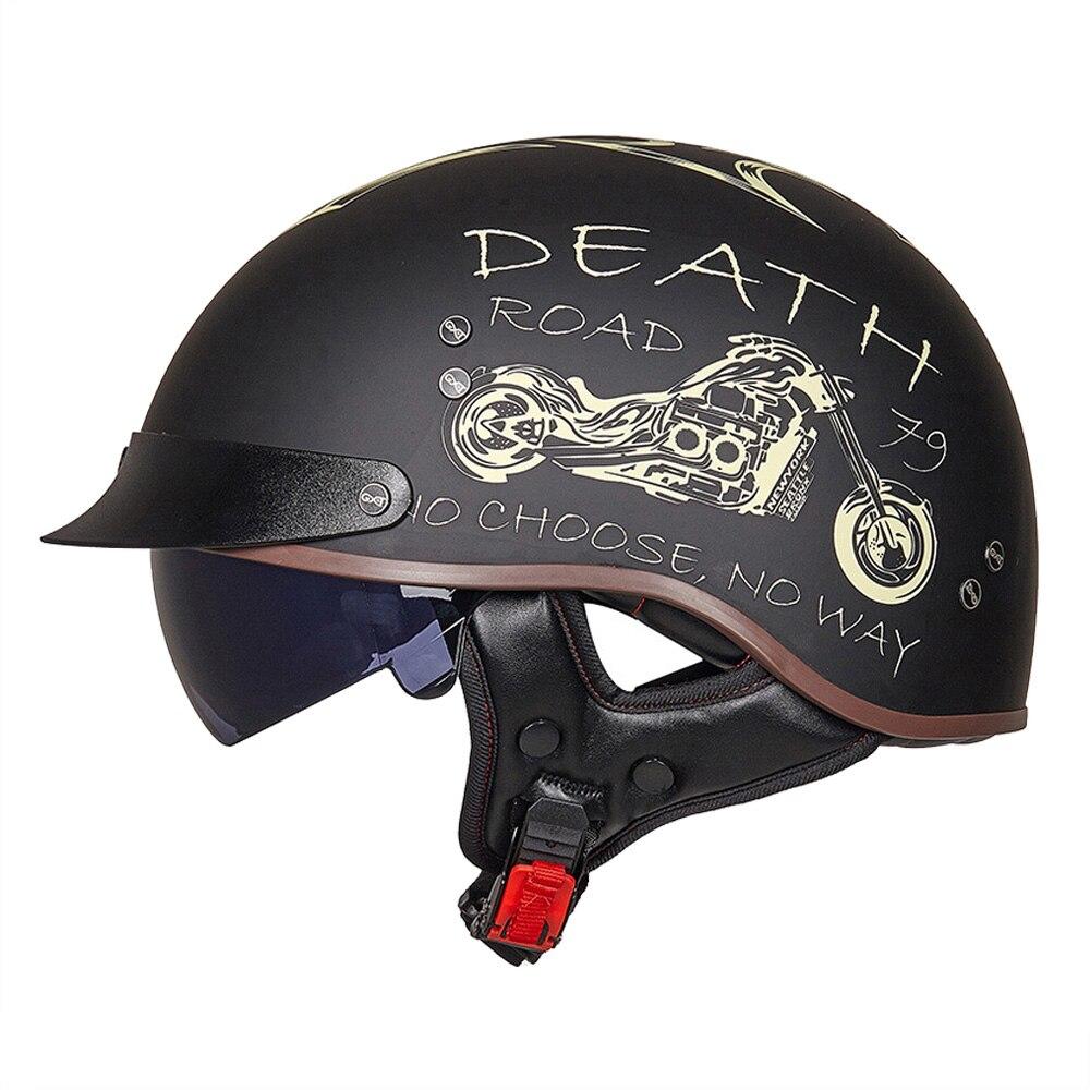Casque de Moto HEROBIKER rétro casque de Moto Casco Face ouverte casque de course de Moto Scooter avec Certification DOT