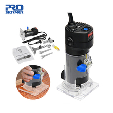 PROSTORMER 650W Electric Mini Wood Router Trimmer Machine 6.35mm Collet Carving Machine Carpentry Woodworking Power Tools