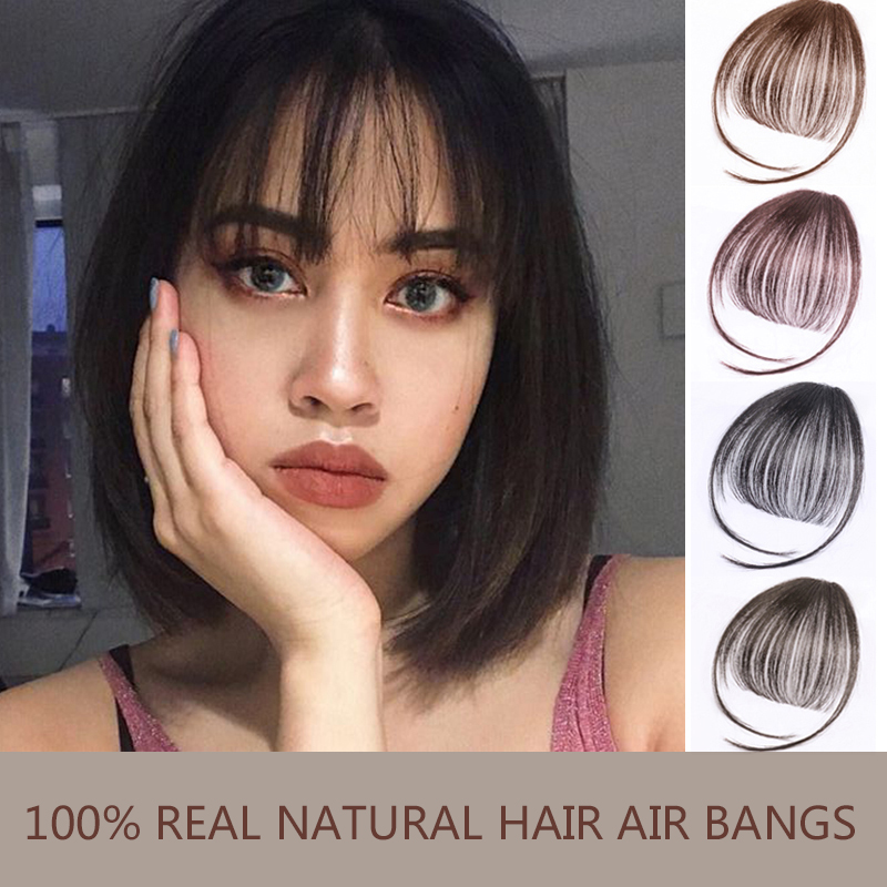 MUMUPI Fake Long Blunt Bangs Hair Clip-In Extension Fake Fringe 100% Real Natural False Hairpiece For Women Clip In Bangs