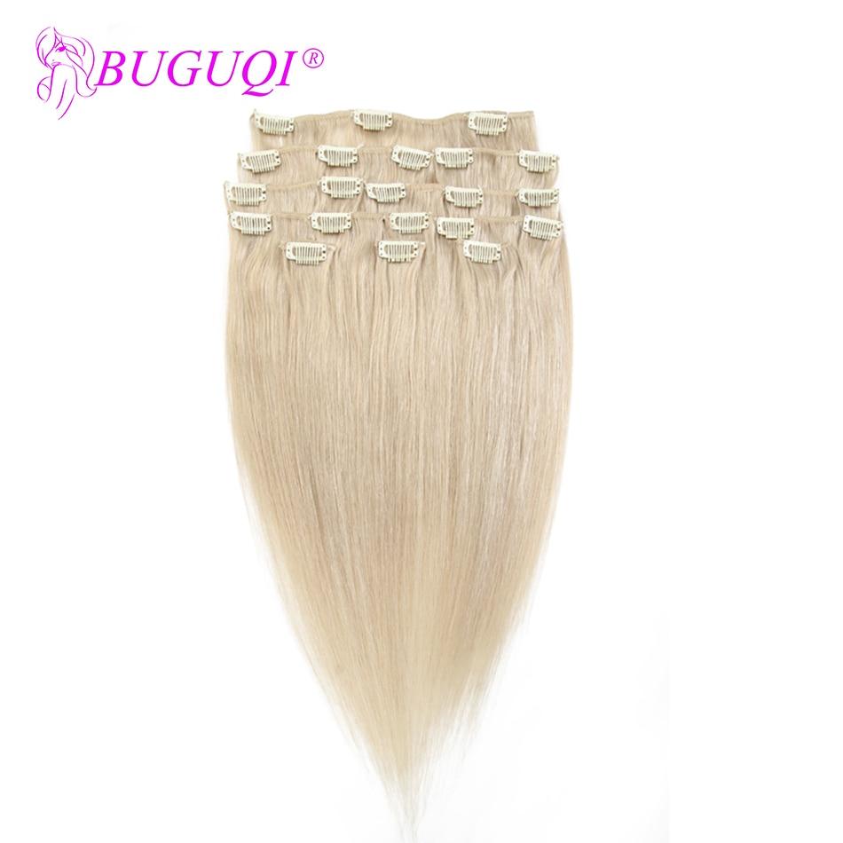 BUGUQI Hair Clip In Human Hair Extensions Brazilian #24 Remy 16- 26 Inch 100g Machine Made Clip Human Hair Extensions