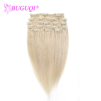 BUGUQI Hair Clip In Human Hair Extensions Brazilian #24 Remy 16- 26 Inch 100g Machine Made Clip Human Hair Extensions