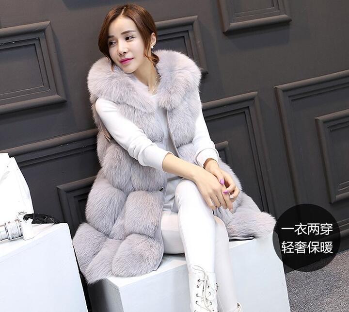 Um novo tipo de longo e de comprimento médio comércio exterior roupas femininas com costura de pele e casaco de cabelo de raposa em 2019