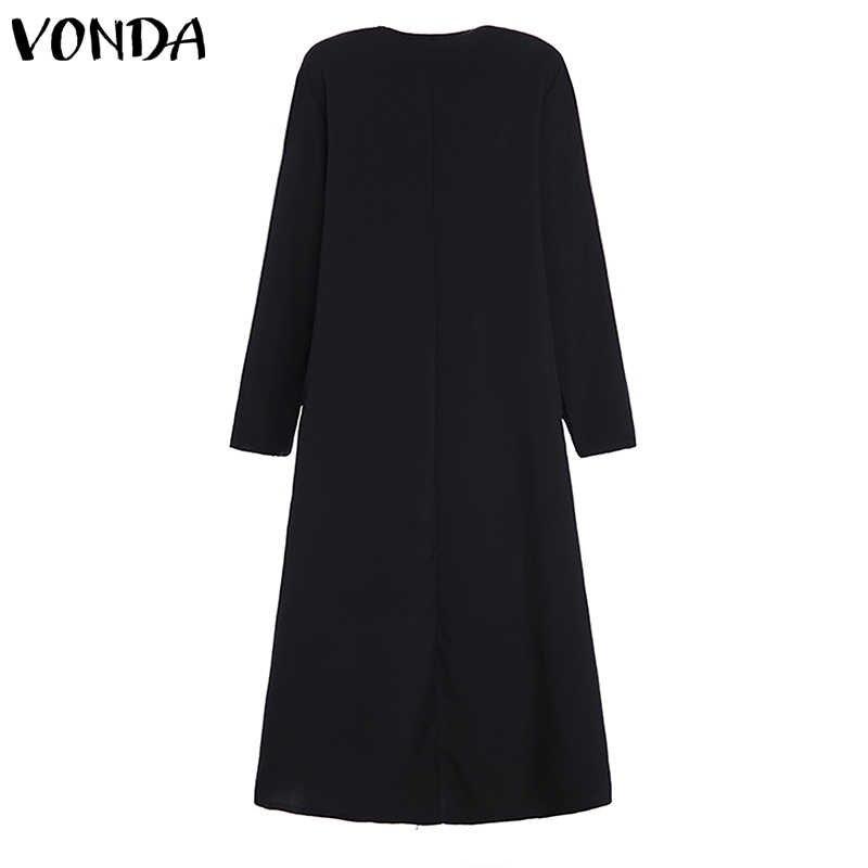 Yaz elbisesi 2019 Rahat Gevşek Vintage Uzun Kollu Baskı Maxi Elbiseler 2019 Sonbahar Uzun Elbise VONDA Bohemian Vestidos 5XL