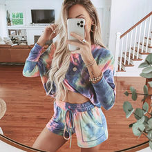 2020 New Women Two Piece Sets Vintage Tie-Dye Printed Track Suit Sexy Off Shoulder Outfits Fashion Home Casual Shorts Sweat Suit