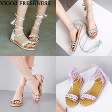 VIGOR FRESHNESS Women Sandals Summer Boots Flat Heels Cross-tied Sandals Woman Shoes Gladiator Sexy Big Sizes 34-47 MY469(China)