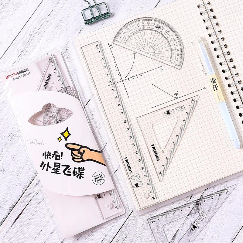 Students Simple Transparent Ruler Painted Learning Set Ruler Multi-functional Scale Set Cartoon Cute Office