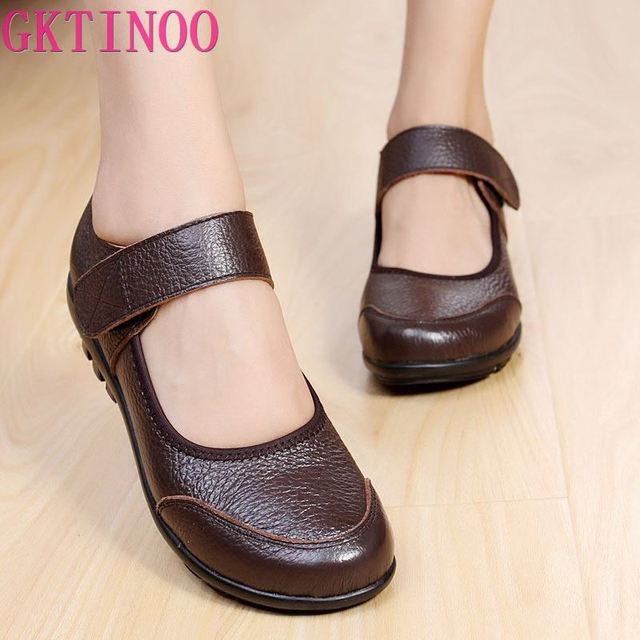 GKTINOO Summer Ballet Flats Shoes Woman Leather Mary Jane Casual Shoes ladies Genuine Loafers Shoes Female 2019 Sapato Feminino