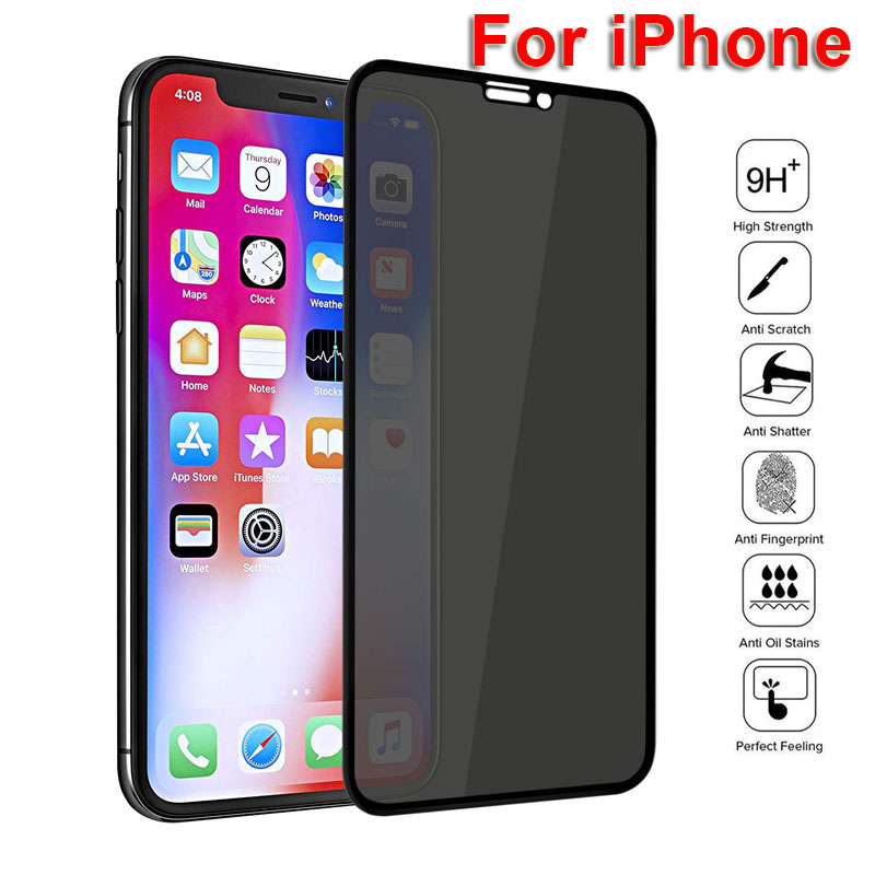 HD Full Cover Privacy Screen Protector For IPhone X XS MAX XR Antispy Tempered Glass Film For IPhone 11 6 7 8 Plus Privacy Glass
