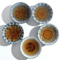Copo de chá de bambu azul e branco do chapéu  conjunto de chá de kungfu cerâmico  no esmalte decalque puer er xícara de chá