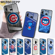 Chicago Cubs Baseball Glass Case for Samsung S7 Edge S8 S9 S10 Plus A10 A20 A30 A40 A50 A60 A70 Note 8 9 10