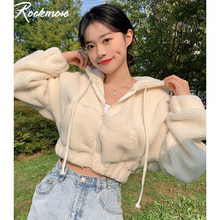 Rockmore Pelzigen Mit Kapuze Cropped Jacken Zipper Mäntel Frauen Jacke Winter Schwarz Kurze Jacke 90s Harajuku Koreanische Weibliche 2020 Neue