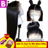 BINF Lace Frontal Human Hair Wigs Brazilian Straight Non Remy Hair Pre Plucked With Baby Hair&360 Lace Frontal Wig Color 1B