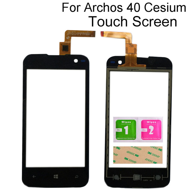 Touch Screen Glass For Archos 40 Cesium Touch Screen Front Glass Mobile Phone Touch Panel Lens Sensor Tools 3M Glue Wipes