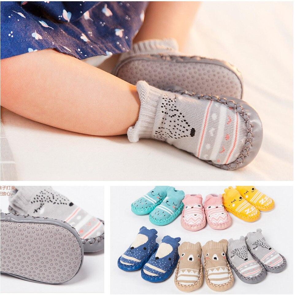 New Style Socks Slippers For Toddler Fashion Baby Girls Boys Cute Cartoon Animal Thick Warm Socks Kids Anti-Slip Socks Slippers