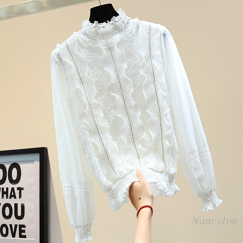 Women's Lace Shirt Korean Style Loose Slim Fit Pleated Ruffles Diamond Embedded Shirt Chiffon Blouse 2021 Spring Female Tops