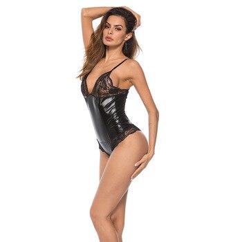 Fetish Women Latex Nightclub Bodysuit Woman Lace Teddy Jumpsuit Fetish PVC Catsuit Bodysuit Sexy Clothing Woman Leather Bodysuit 1