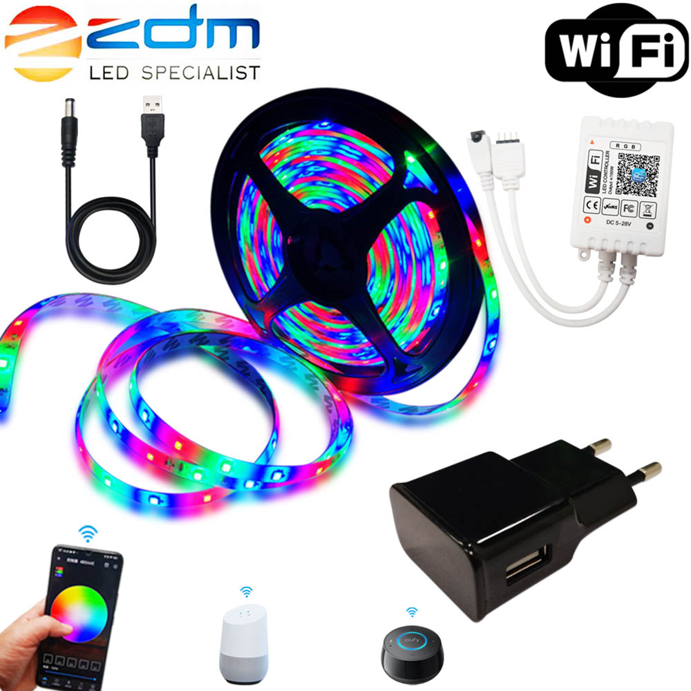 Usb Powered RGB Dc 5v Led Strip Light 2835 Rgb Flexible Smd 1M 2M 3M 4M 5M Led Ribbon WIFI Led Tape TV Backlight Remote Control
