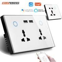 Toma de pared USB inteligente con WIFI, toma de corriente Universal, interruptor táctil de 15A, carga inalámbrica, funciona con Alexa y Google Home