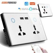 WIFI inteligentne gniazdo ścienne USB uniwersalne elektryczne wtyczka 15A zasilania przełącznik dotykowy ładowanie Wireless współpracuje z Alexa Google domu