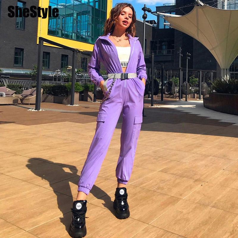 Shestyle Streetwear Belt Cargo Jumpsuits Women Zipper High Neck Casual Cool Purple Autumn Pockets Jogger Jumpsuit Pants 2019