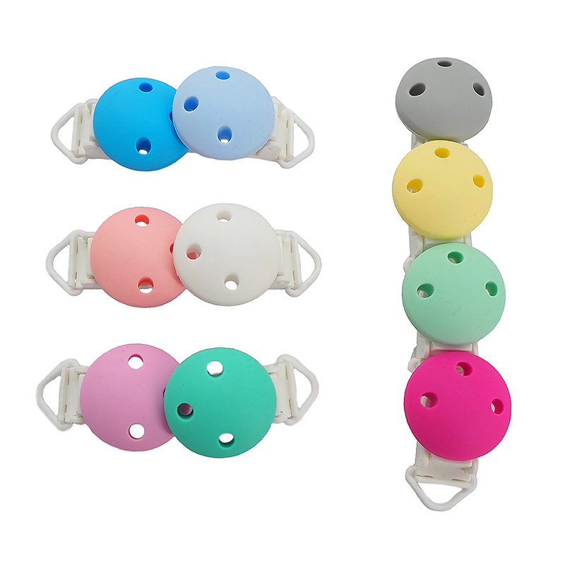 Chenkai 50PCS Silicone Round Clips Soother Nursing Teething BPA Free For DIY Baby Dummy Montessori Pacifier Chain Accessories