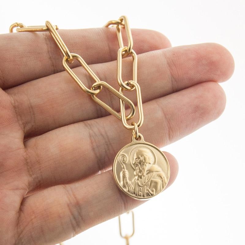 100% нержавеющая сталь медаль Святого Бенедикта кулон ожерелье для женщин медалла Сан Бенито металлический замок цепи ожерелье религиозная